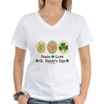 Peace Love St Paddy's Day Women's V-Neck T-Shirt