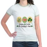 Peace Love St Paddy's Day Jr. Ringer T-Shirt