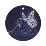 Black Butterfly Panther Ornament (Round)