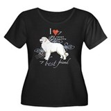 Great Pyrenees Women's Plus Size Scoop Neck Dark T