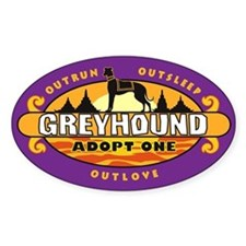 """Greyhound: Adopt One"" Sticker (purple)"
