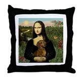 Mona Lisa & Dachshund Throw Pillow
