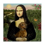 Mona Lisa &amp; Dachshund Tile Coaster