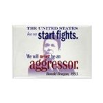 Ronald Reagan Never Aggressor Rectangle Magnet (10