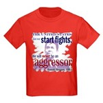 Ronald Reagan Never Aggressor Kids Dark T-Shirt