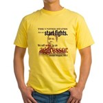 Ronald Reagan Never Aggressor Yellow T-Shirt