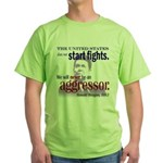 Ronald Reagan Never Aggressor Green T-Shirt