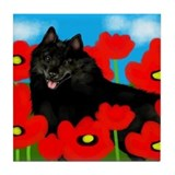 SCHIPPERKE DOG POPPIES Tile Coaster
