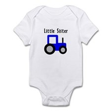 Little Sister Blue Tractor Infant Bodysuit