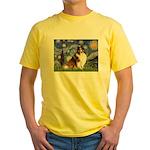 Starry Night / Sheltie (s&w) Yellow T-Shirt