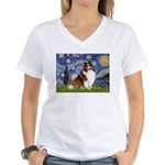 Starry Night / Sheltie (s&w) Women's V-Neck T-Shir