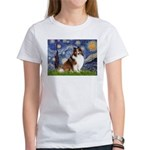 Starry Night / Sheltie (s&w) Women's T-Shirt