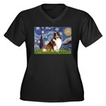Starry Night / Sheltie (s&w) Women's Plus Size V-N