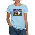 Starry Night / Sheltie (s&w) Women's Light T-Shirt