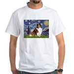 Starry Night / Sheltie (s&w) White T-Shirt