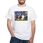 Starry Night / Sheltie (s&w) White T-Shirt