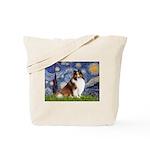 Starry Night / Sheltie (s&w) Tote Bag