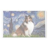 Starry Night / Sheltie (s&w) Decal