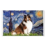 Starry Night / Sheltie (s&w) Sticker (Rectangle)