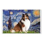 Starry Night / Sheltie (s&w) Sticker (Rectangle)