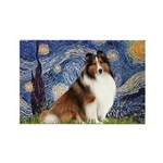 Starry Night / Sheltie (s&w) Rectangle Magnet