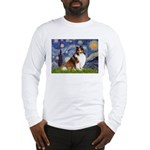 Starry Night / Sheltie (s&w) Long Sleeve T-Shirt
