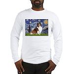 Starry Night / Sheltie (s&w) Long Sleeve T-Shirt