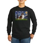 Starry Night / Sheltie (s&w) Long Sleeve Dark T-Sh