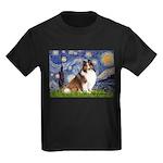 Starry Night / Sheltie (s&w) Kids Dark T-Shirt