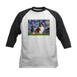 Starry Night / Sheltie (s&w) Kids Baseball Jersey