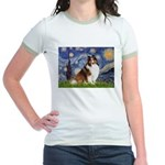 Starry Night / Sheltie (s&w) Jr. Ringer T-Shirt