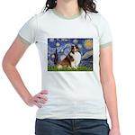 Starry Night / Sheltie (s&w) Jr. Ringer T-Shirt