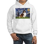 Starry Night / Sheltie (s&w) Hooded Sweatshirt