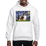 Starry Night / Sheltie (s&w) Hooded Sweatshirt