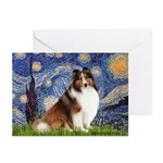 Starry Night / Sheltie (s&w) Greeting Cards (Pk of