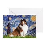 Starry Night / Sheltie (s&w) Greeting Card