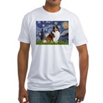 Starry Night / Sheltie (s&w) Fitted T-Shirt