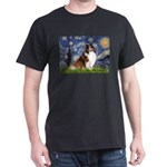 Starry Night / Sheltie (s&w) Dark T-Shirt