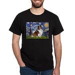 Starry Night / Sheltie (s&w) Dark T-Shirt