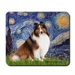 Starry Night / Sheltie (s&w) Mousepad