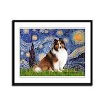 Starry Night / Sheltie (s&w) Framed Panel Print
