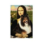 Mona Lisa / Sheltie (s&w) Rectangle Magnet