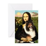 Mona Lisa / Sheltie (s&w) Greeting Card