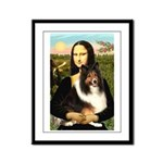 Mona Lisa / Sheltie (s&w) Framed Panel Print