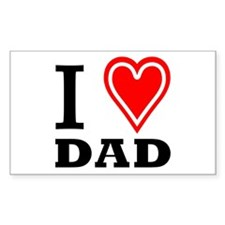 I Love DAD Rectangle Decal