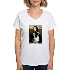 Mona Lisa/English Springer Women's V-Neck T-Shirt