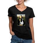 Mona Lisa/English Springer Women's V-Neck Dark T-S