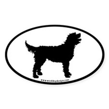Labradoodle Oval (black border) Oval Decal