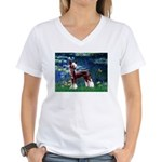 Lilies / Chinese Crested Women's V-Neck T-Shirt