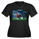 Lilies / Chinese Crested Women's Plus Size V-Neck